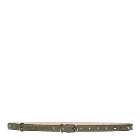 BALLY Army Green Bliss Leather Skinny Belt