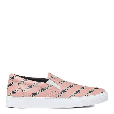 BOSS Pink Road Slip On Leather Trainers
