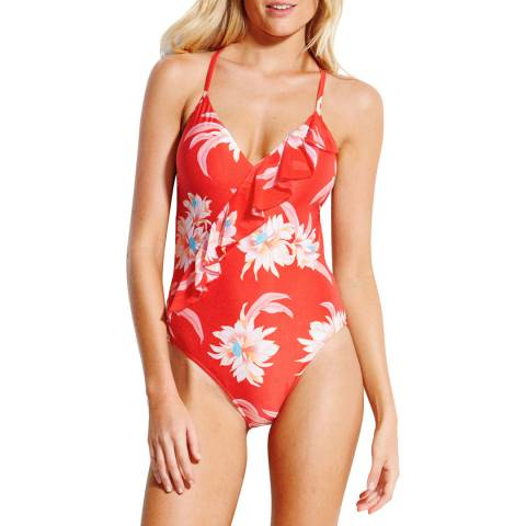 Seafolly Chilli Desert Flower Frill Front Maillot