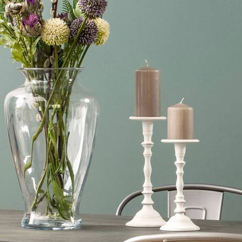 Premier Housewares Complements Small White Wash Candle Holder