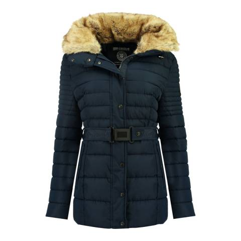 Geographical Norway Navy Quilted Hooded Jacket