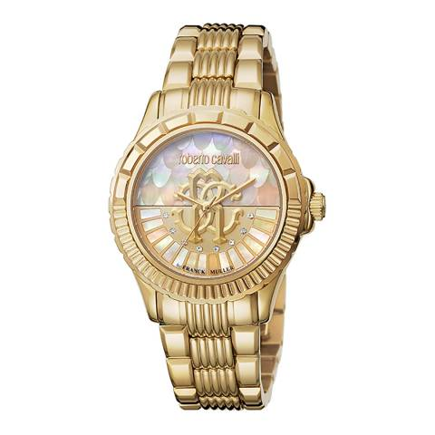 Roberto Cavalli Gold Mother Of Pearl Sapphire Ronda 763 Watch