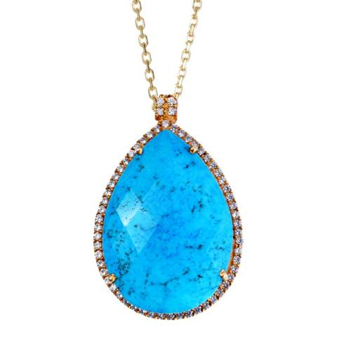 Liv Oliver 18k Gold Turquoise Embelished Pear Drop Necklace