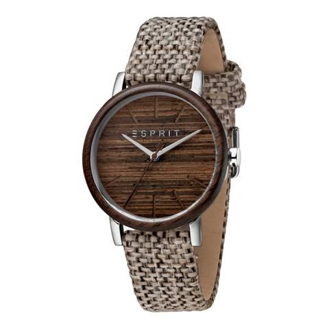 Esprit Wood Light Brown Canvas Watch