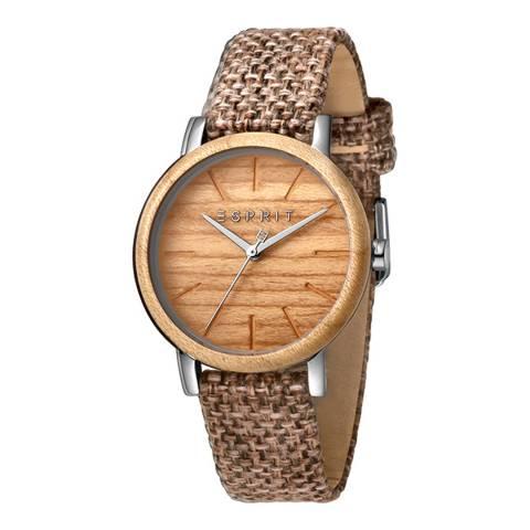 Esprit Wood Brown Canvas Watch