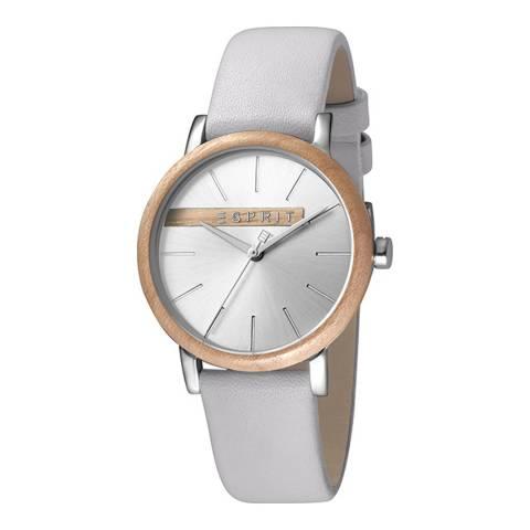 Esprit Silver With Wood Platform Light Grey Calf Leather Watch