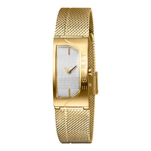 Esprit Silver Stainless Steel Mesh, Ip Gold Plated Watch