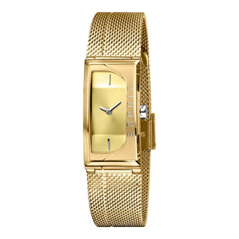 Esprit Champagne Stainless Steel Mesh Gold Plated Watch