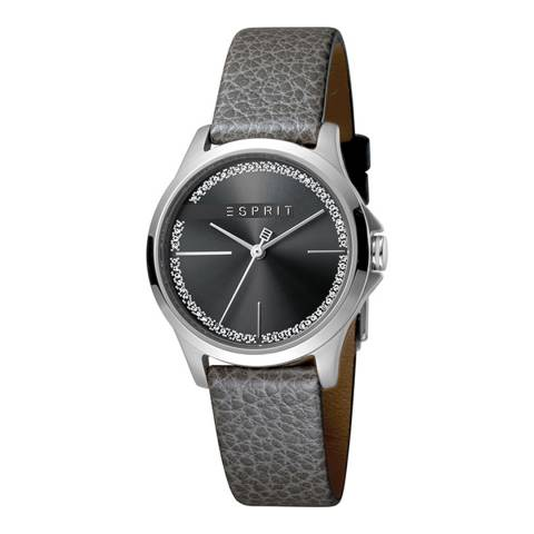 Esprit Black With Stones Grey Calf Leather Watch