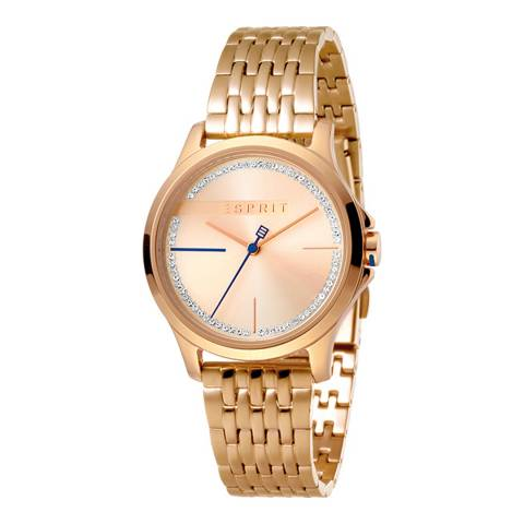 Esprit Rose Gold With Stones Stainless Steel, Ip Rosegold Plated Watch