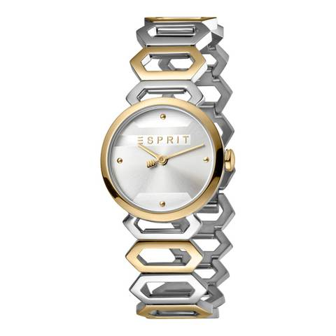 Esprit Silver Stainless Steel, Ip Two-Tone Gold Plated Watch