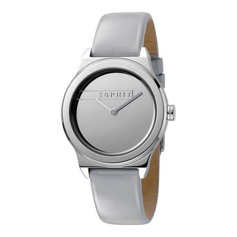 Esprit Silver Mirror Light Grey Patent Leather Watch