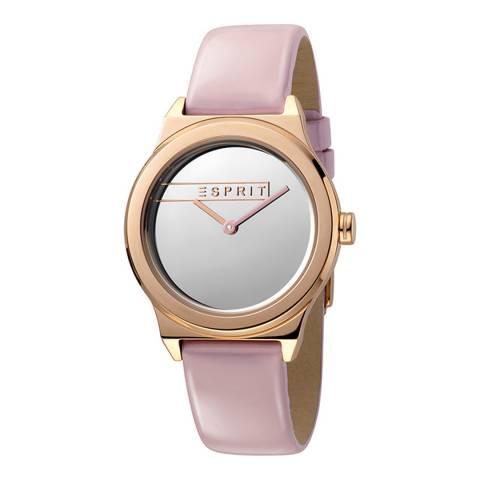 Esprit Silver Mirror Pink Patent Leather Watch