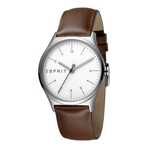Esprit Silver Brown Calf Leather Watch