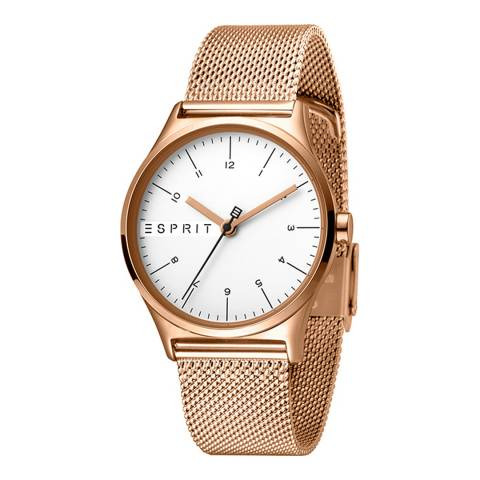 Esprit Silver Stainless Steel Mesh, Ip Rosegold Plated Watch