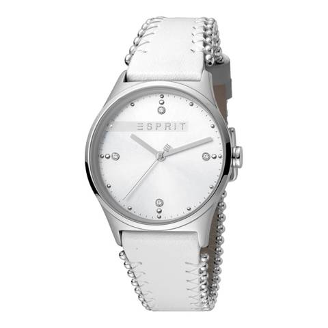 Esprit Silver White Calf Leather Watch