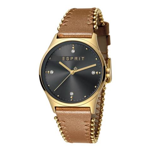 Esprit Grey Light Brown Calf Leather Watch