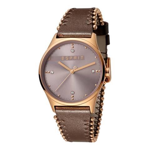 Esprit Dark Pink Dark Brown Calf Leather Watch