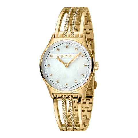 Esprit White Mop Stainless Steel, Ip Gold Plated + White Stones Watch