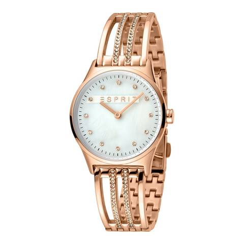 Esprit Silver Mop Stainless Steel, Ip Rosegold Plated + White Stones Watch