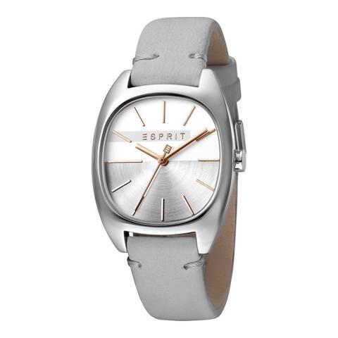 Esprit Silver Light Grey Calf Leather Watch
