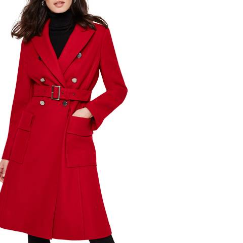 Damsel In A Dress Red Roxi Belted Coat