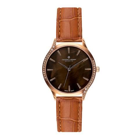 Frederic Graff Women's Ginger Brown Basodino Leather Watch 38mm