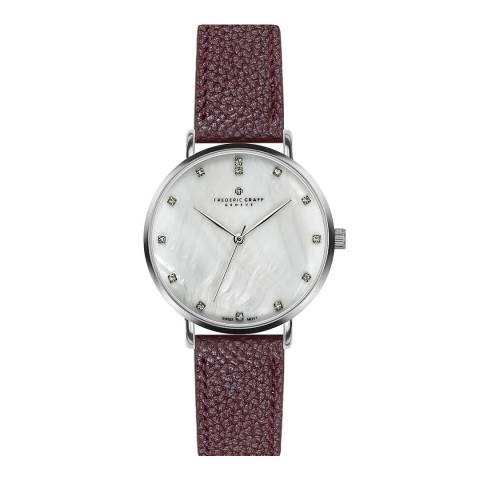 Frederic Graff Women's Wine La Singla Lychee Leather Watch 38mm