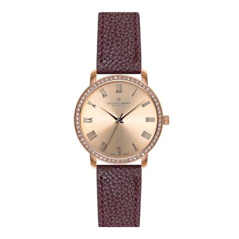 Frederic Graff Women's Wine Ruinette Lychee Leather Watch 36mm