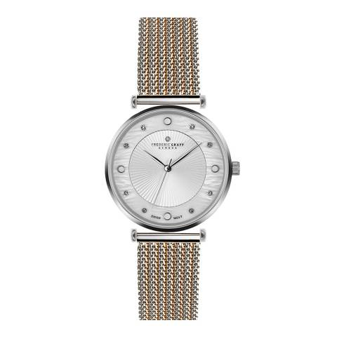 Frederic Graff Women's Silver/Rose Jungfrau Mesh Watch 38mm