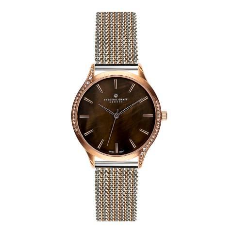 Frederic Graff Women's Silver/Rose Basodino Mesh Watch 38mm