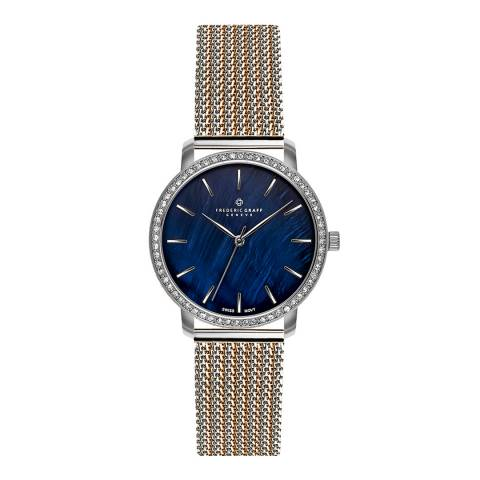 Frederic Graff Women's Silver/Rose Monte Leone Mesh Watch 38mm