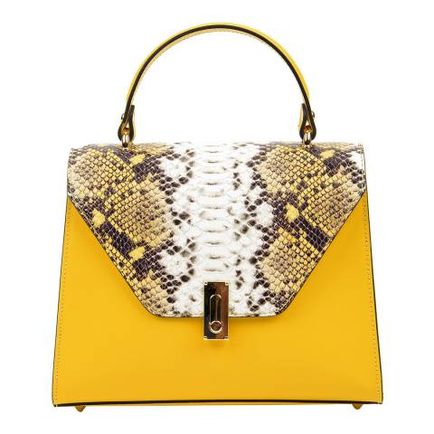 Luisa Vannini Yellow Leather Top Handle Bag