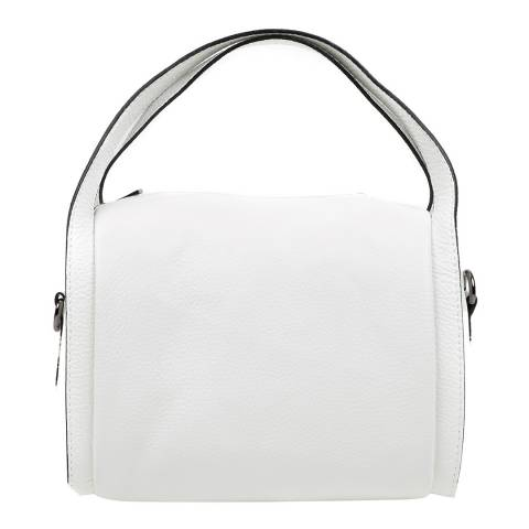 Luisa Vannini White Leather Top Handle Bag