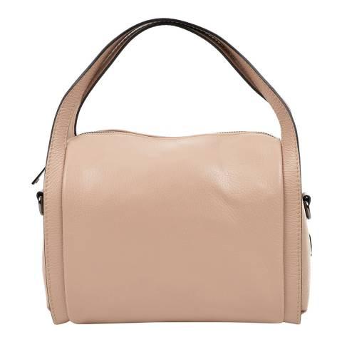Luisa Vannini Cream Leather Top Handle Bag