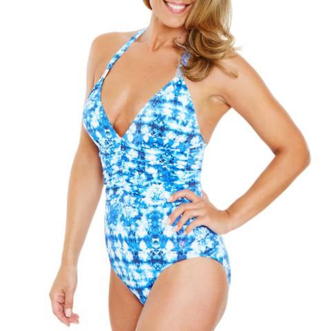 Seaspray Blue Azurite Halter Plunge Swimsuit