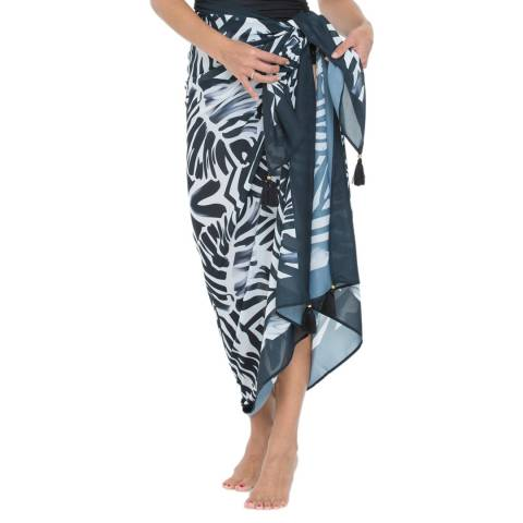 Seaspray Palm Print Noir Tassel Pareo