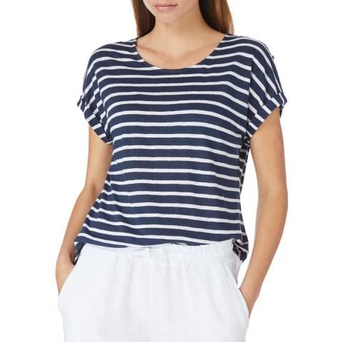 Laycuna London Navy / White Linen Stripe Roll Sleeve T Shirt