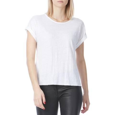 Laycuna London White Linen Roll Sleeve T Shirt