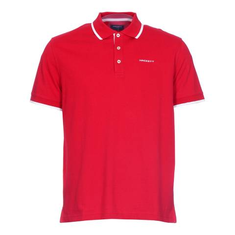 Hackett Red Cotton Pique Polo Shirt