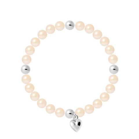 Mitzuko Natural White Heart Charm Elasticated Pearl Bracelet