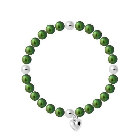 Mitzuko Green Heart Charm Elasticated Pearl Bracelet