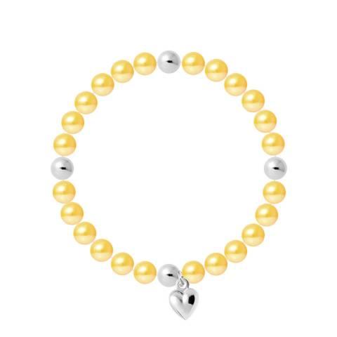 Mitzuko Yellow Heart Charm Elasticated Pearl Bracelet
