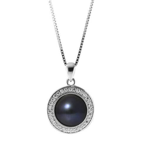 Mitzuko Black Tahiti Button Pearl Pendant Necklace 9-10mm