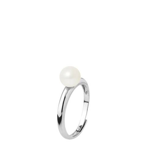 Mitzuko Natural White Silver Round Pearl Ring 6-7mm