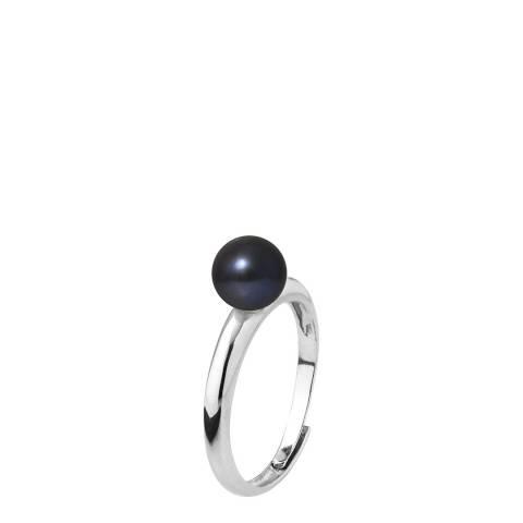 Mitzuko Black Silver Round Pearl Ring 6-7mm