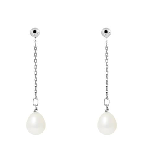 Mitzuko Natural White Falling Pear Pearl Earrings 7-8mm