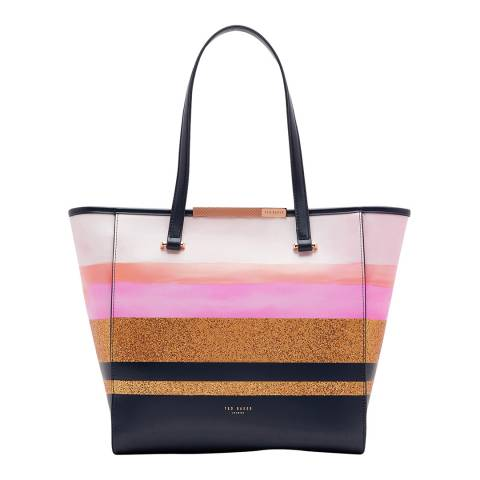 Ted Baker Navy Glitter Stripe Large Shopper