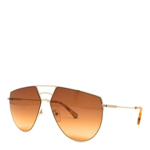 Chloe Women's Gold/Brown Aviator Sunglasses 62cm