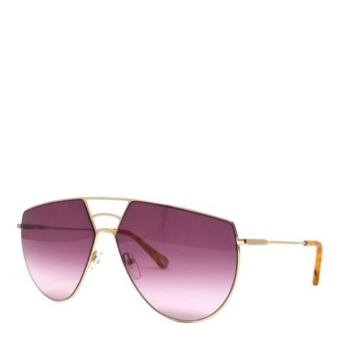 Chloe Women's Wine/Gold Aviator Sunglasses 62cm